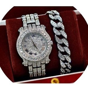 New Iced Out White Gold Watch Bracelet Gift Set
